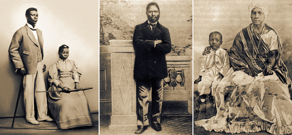 Three portrait photos: 1. Joaquim and Anastacia Oyeniya George, date unknown, private collection of author. 2. Joao Esan da Rocha c. 1870 in Marianno Carneira da Cunha, Da Senzala ao Sobrado (Sao Paulo: Nobel, 1985) 46. 3. Louisa Angelica & Candido da Rocha c. 1870 in Marianno Carneira da Cunha, Da Senzala ao Sobrado (Sao Paulo: Nobel, 1985) 52.